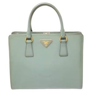 Prada Dusty Blue Saffiano Vernice Leather Frame Tote