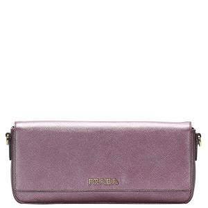 Prada Purple Leather Saffiano Shoulder Bag