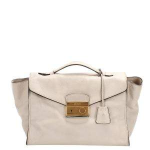 Prada White Vitello Daino Leather Sound Satchel Bag