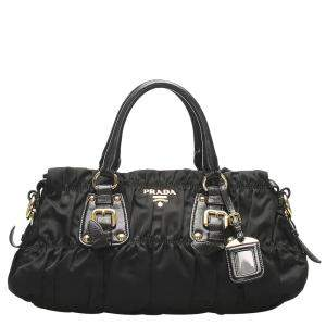 Prada Black Nylon Tessuto Gaufre Satchel Bag