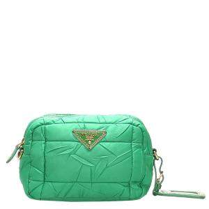 Prada Green Nylon Tessuto Bomber Crossbody Bag