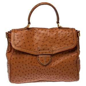 Prada Cognac Struzzo Ostrich Pushlock Flap Top Handle Bag