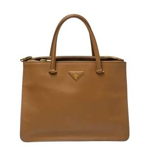 Prada Tan Saffiano Cuir Leather City Tote