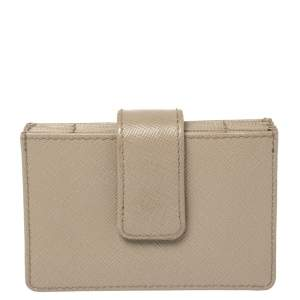 Prada Grey Saffiano Leather Business Card Holder