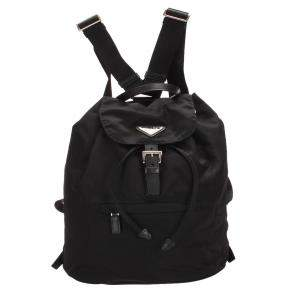 Prada Black Tessuto Drawstring Backpack