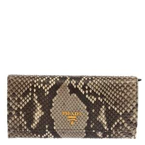 Prada Grey Python and Leather Flap Continental Wallet