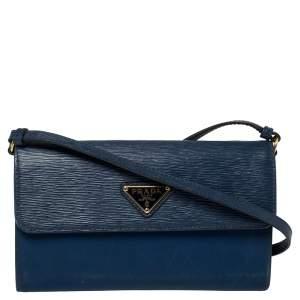 Prada Blue Leather and Nylon Logo Flap Wallet on Strap