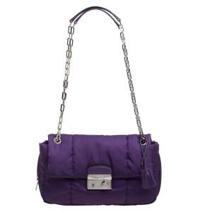 Prada Purple Nylon Bomber Chain Shoulder Bag