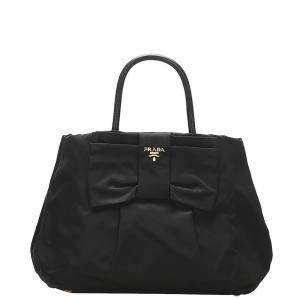 Prada Black Nylon Tessuto Fiocco Bow Tote Bag