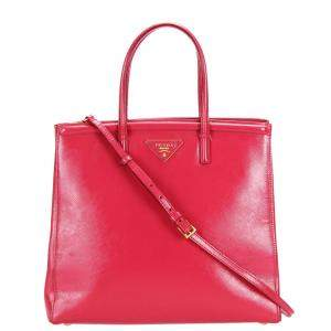 Prada Red Saffiano Lux Leather Satchel Bag