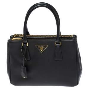 حقيبة يد برادا صغيرة سحاب مزدوج جلد سافيانو لوكس أسود