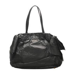 Prada Black Leather Bow Tie Tote Bag