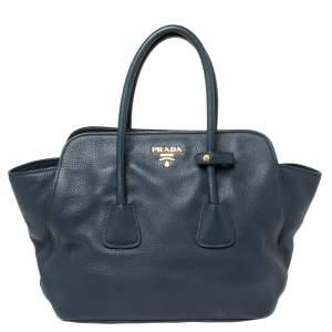 حقيبة برادا فيتيليو ديانو جلد أزرق كحلي