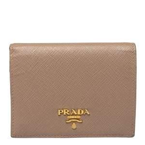 Prada Beige Saffiano Lux Leather Compact Wallet