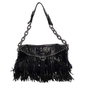 Prada Black Leather Fringe Shoulder Bag