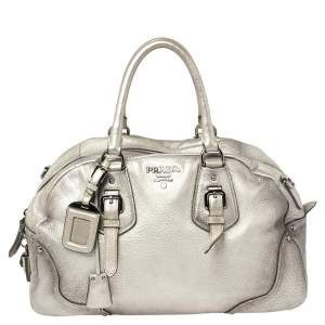 Prada Metallic Silver Cervo Antik Leather Bauletto Bag