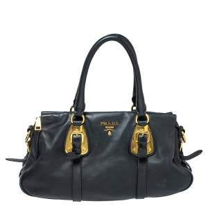 Prada Black Soft Leather Medium Belted Satchel