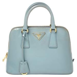 Prada Blue Saffiano Vernice Leather Small Promenade Satchel