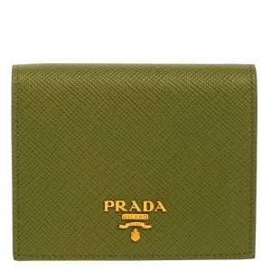 Prada Green Saffiano Leather Compact Wallet