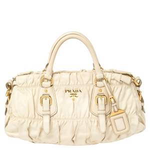 Prada White Gathered Leather Satchel