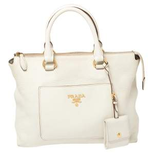 Prada Off White Vitello Daino Leather Front Pocket Satchel