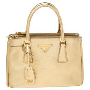 Prada Metallic Gold Saffiano Lux Leather Small Double Zip Tote