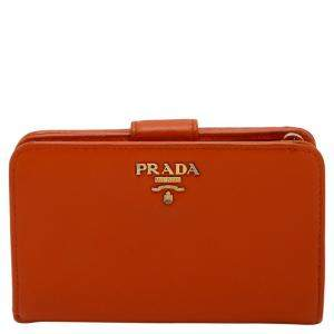 Prada Orange Saffiano Leather Wallet