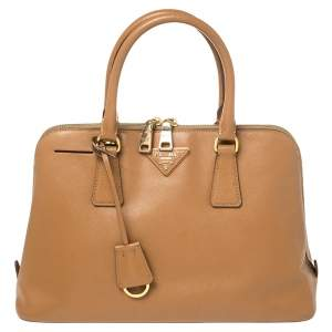 Prada Brown Saffiano Leather Promenade Satchel