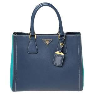 Prada Two Tone Blue Saffiano Lux Leather Tote