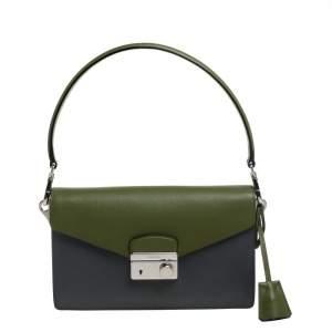 Prada Two Tone Saffiano Leather Flap Shoulder Bag