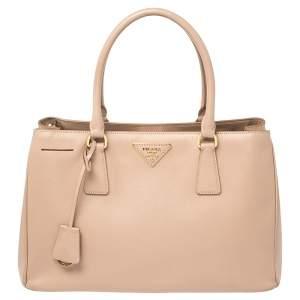 Prada Pink Saffiano Lux Leather Medium Galleria Tote