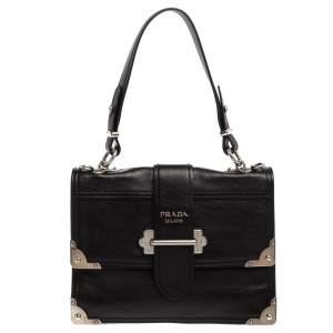 Prada Black Soft Leather Cahier Top Handle Bag