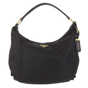 Prada Black Nylon Tessuto Hobo Bag