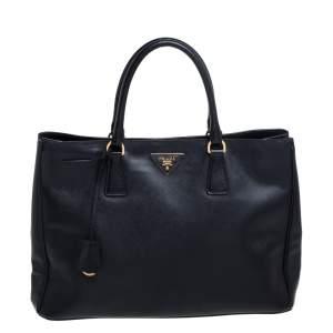 Prada Black Saffiano Leather Open Galleria Tote