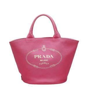 Prada Pink Canapa Logo Canvas Tote Bag