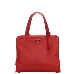 Prada Red Nylon Tessuto Tote Bag