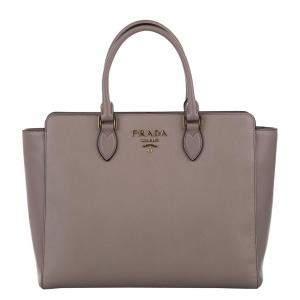 Prada Beige/Brown Cuir Saffiano Leather Satchel Bag