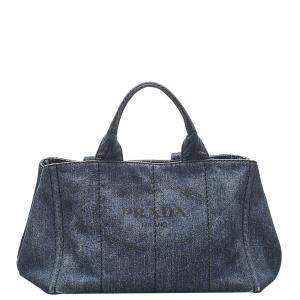 Prada Blue Canapa Logo Denim Tote Bag