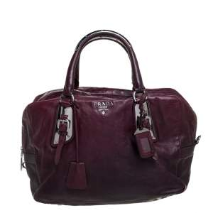 Prada Ombre Burgundy Leather Satchel