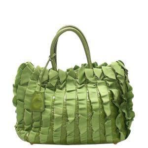 Prada Green Ruffled Tessuto Tote Bag