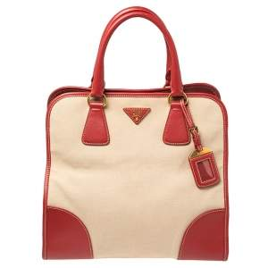 Prada Beige/Red Canvas and Leather Canapa Tote