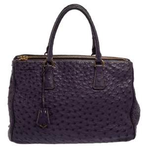 Prada Purple Ostrich Medium Galleria Double Zip Tote