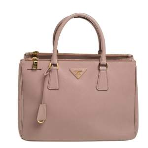 Prada Pink Saffiano Lux Leather Double Zip Galleria bag