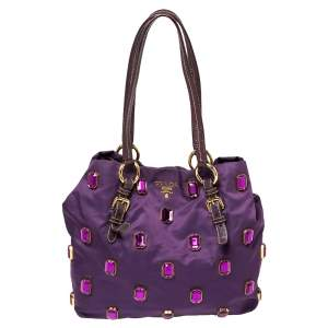 Prada Purple Tessuto Pietre Jeweled Tote