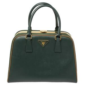 Prada  Green Saffiano Lux Leather Pyramid Frame Satchel