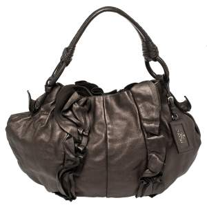 Prada Metallic Bronze Leather Ruffle Hobo Bag