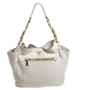 Prada White Vitello Daino Leather Front Zip Hobo