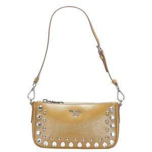 Prada Brown/Light Brown Leather Shoulder Bag