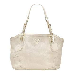 Prada White Leather Vitello Daino Shoulder Bag