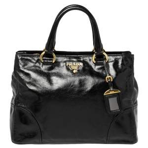 Prada Black Vitello Shine Leather Tote